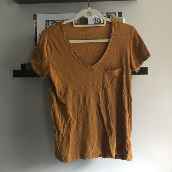 Madewell Tops - Mustard Short Sleeve V-Neck Tee with Front Pocket
